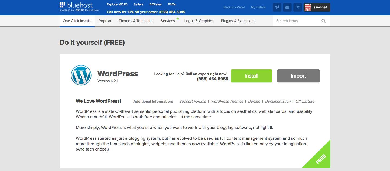 bluehost wordpress